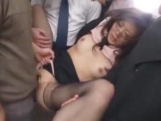 電車の中で沢山の痴漢男達に襲われて抵抗しきれず輪姦される美人OL